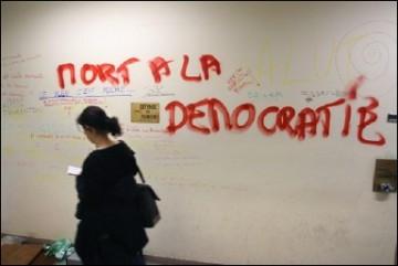 Les locaux de l'EHESS saccagés le 24 mars, photographie (éloquente) de Thomas Coex, AFP
